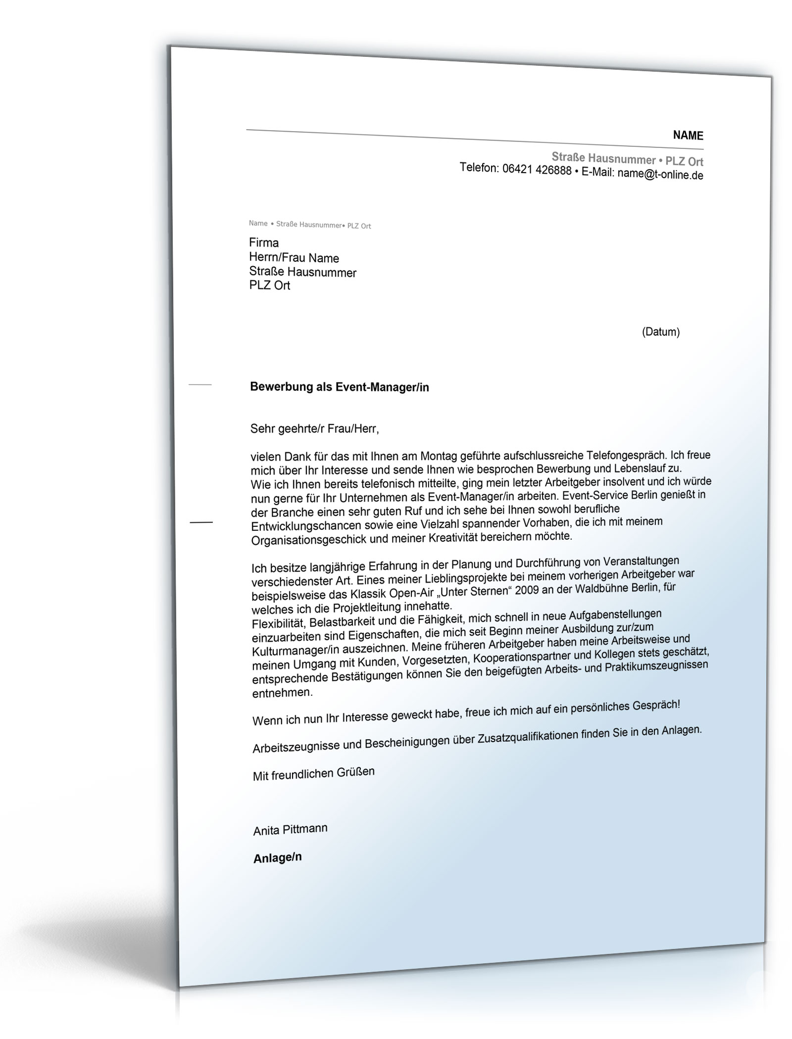 Fancy Anschreiben Manager Konto Festooning - FORTSETZUNG ...