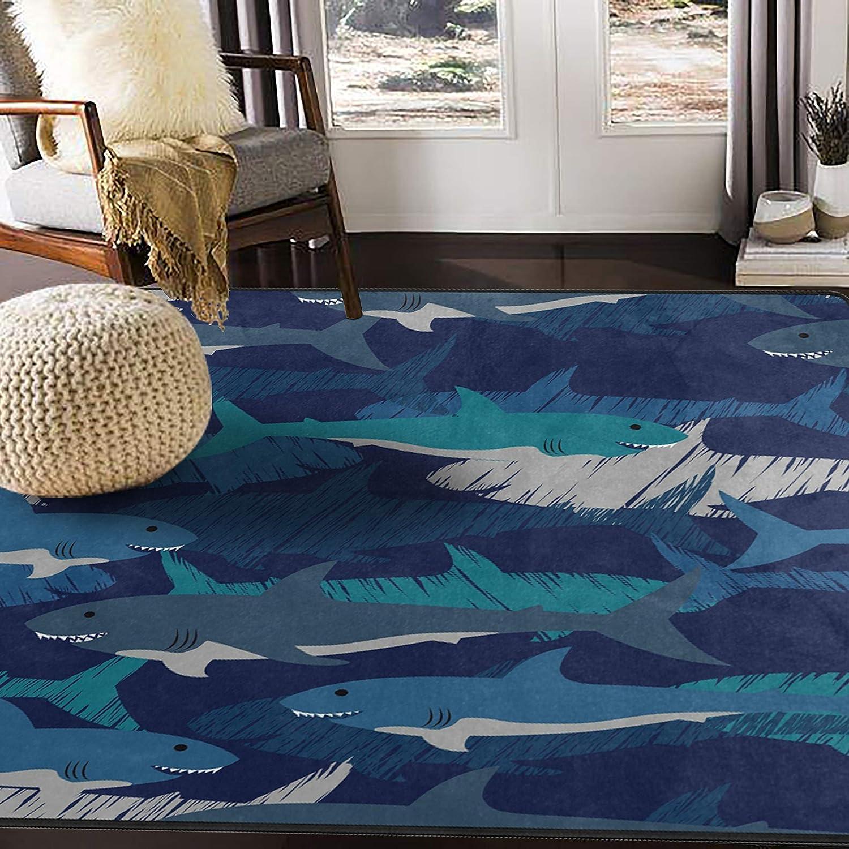 ALAZA Shark Camouflage Stylish Area Rug Rugs for Living Room Bedroom 7' x 5'