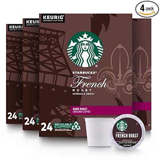 Starbucks Dark Roast K-Cup Coffee Pods - French Roast for Keurig Brewers - 4 Boxes (96 Pods Total)
