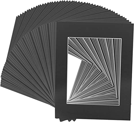 Pack of 50 White Pre-Cut 5x7 Picture Mat for 4x6 Photo with 50 Golden State Art