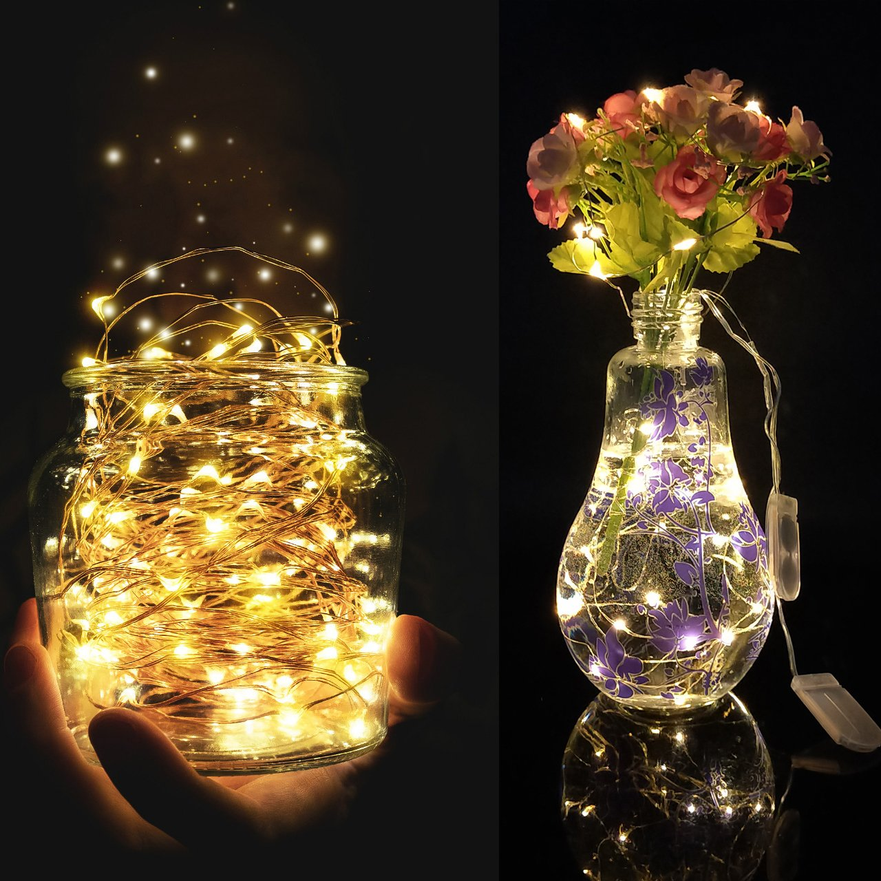Wedding LED String Lights Outdoor Indoor 6.5ft 20LEDs Christmas String Lights Decoration Lighting Battery Operated Perfect for Party 6Packs-Warm White Holiday Decoration