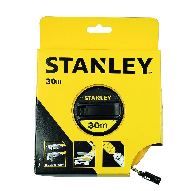 0-34-297 30 m L/änge, ABS-Kunststoffgeh/äuse, klappbare Kurbel, Band beschichtet Stanley Kapselbandmass Fiberglas