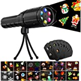 LED Projector Light Flashlight, Battery Operated Christmas Handheld Projector Lights with 12 Pattern Slides and Tripod for Halloween Easter Birthday Party Holiday Decoration Xmas Gift for Kids