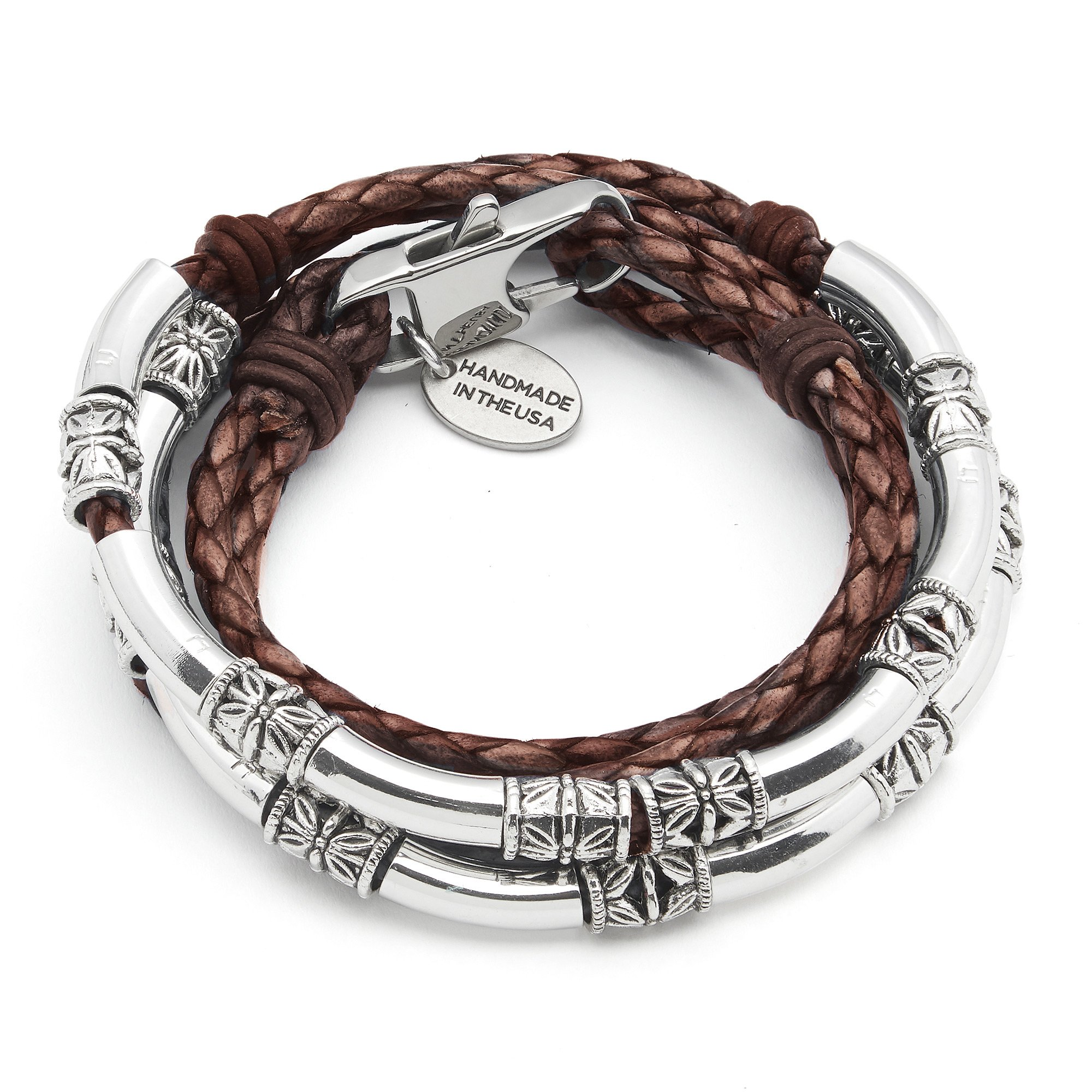 Lizzy James Mini Maxi Silver Plated Braided Leather Wrap Bracelet in Natural Mocha Leather (PETITE) by Lizzy James