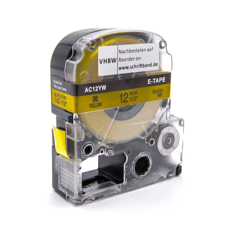 Cassette à Ruban vhbw 12mm pour Epson OK500P, OK720, OK900P, LW-300, LW-400. Remplace: LC-4WBW, SC12YW. VHBW4251004670744