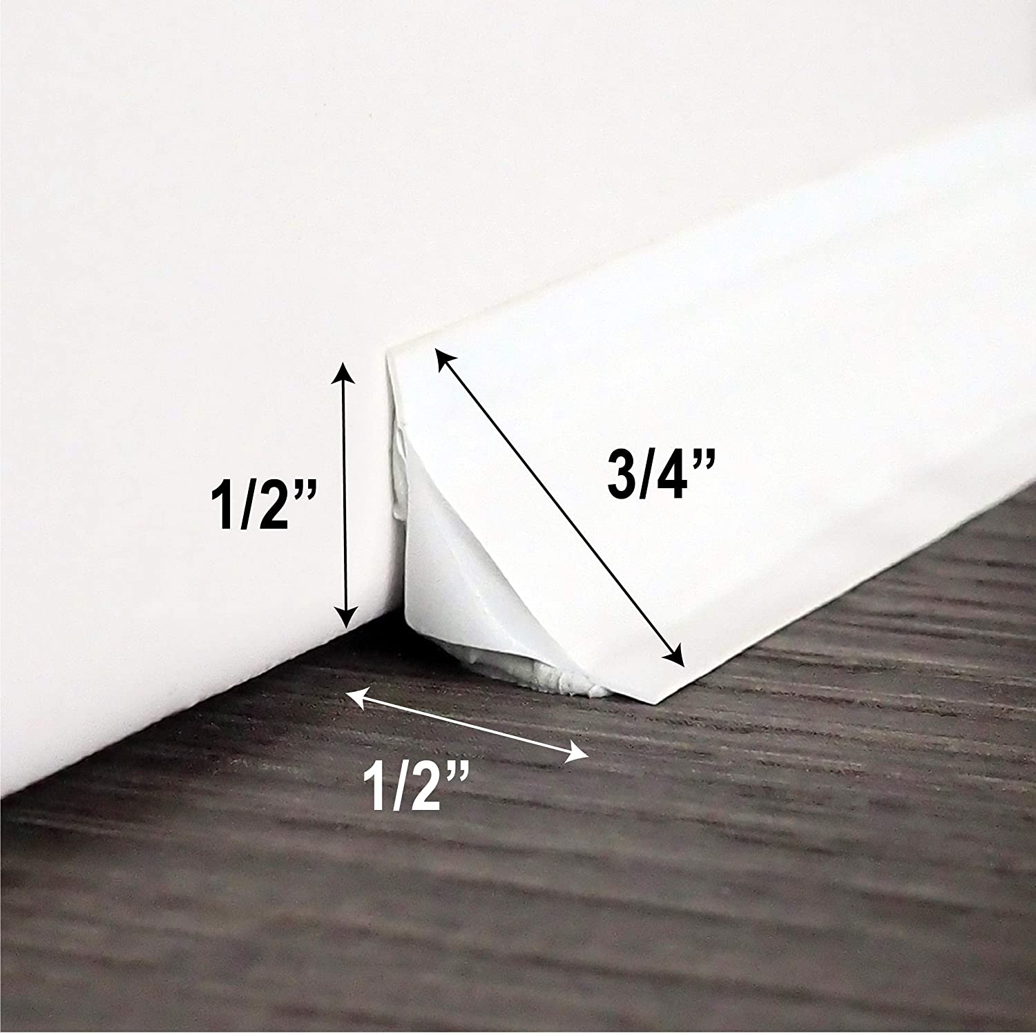 wide X 10 ft long 2 Pack InstaTrim IT05INWHT InstaTrim-1//2 inch Flexible Ceilings Self-adhesive 1//2 in Caulk and Trim Strips for Floors White Countertops and More and More