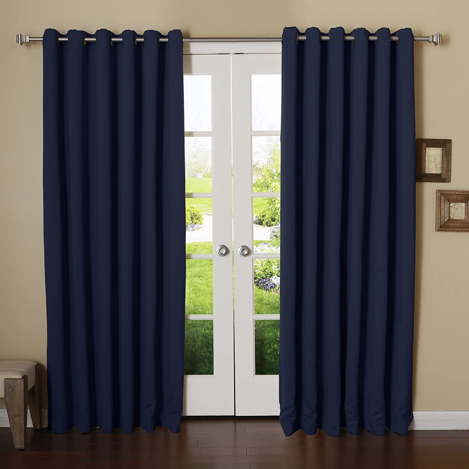 Best Home Fashion Wide Width Thermal Insulated Blackout Curtain - Antique Bronze Grommet Top - Navy