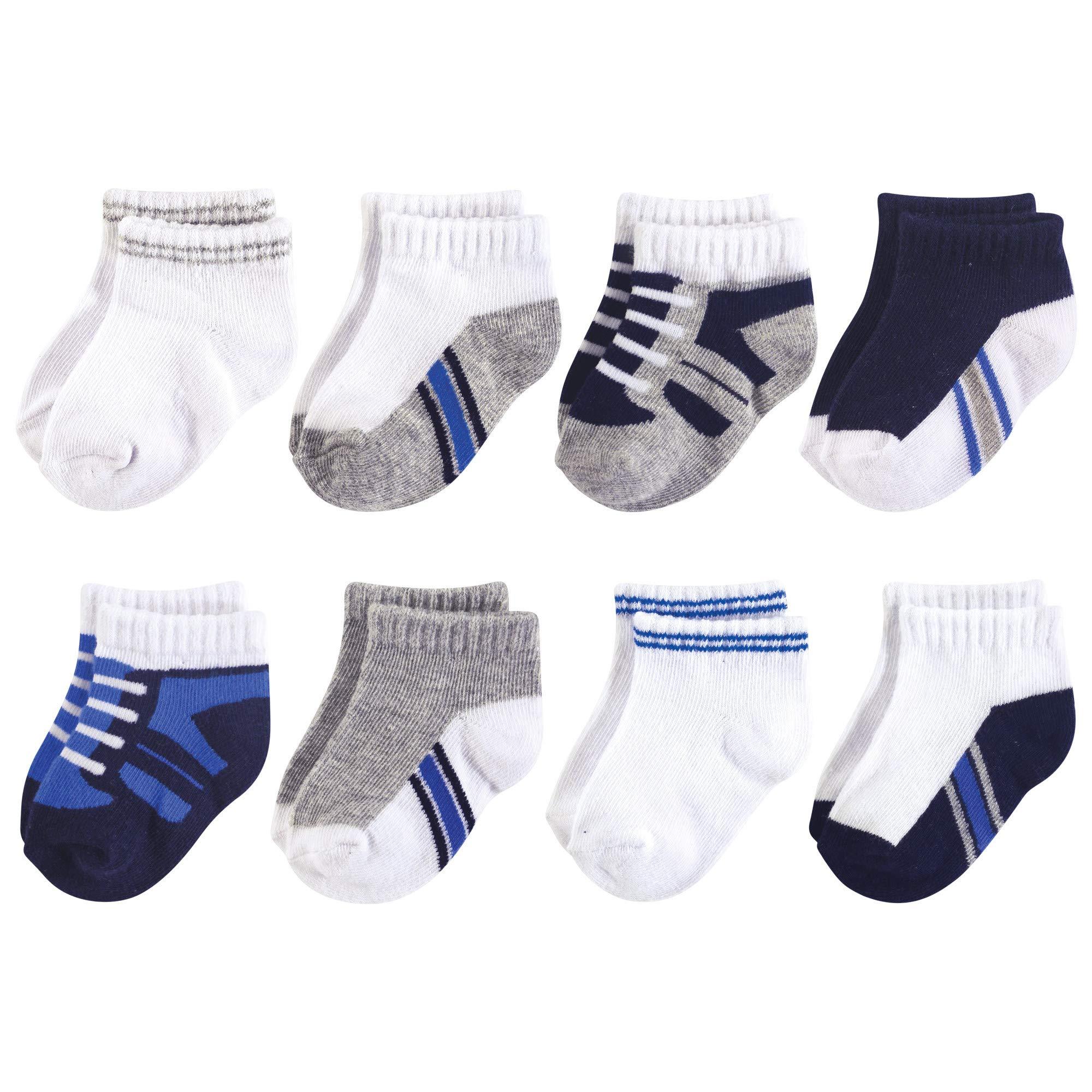 Luvable Friends Baby Basic Socks, Blue Gray Sneaker