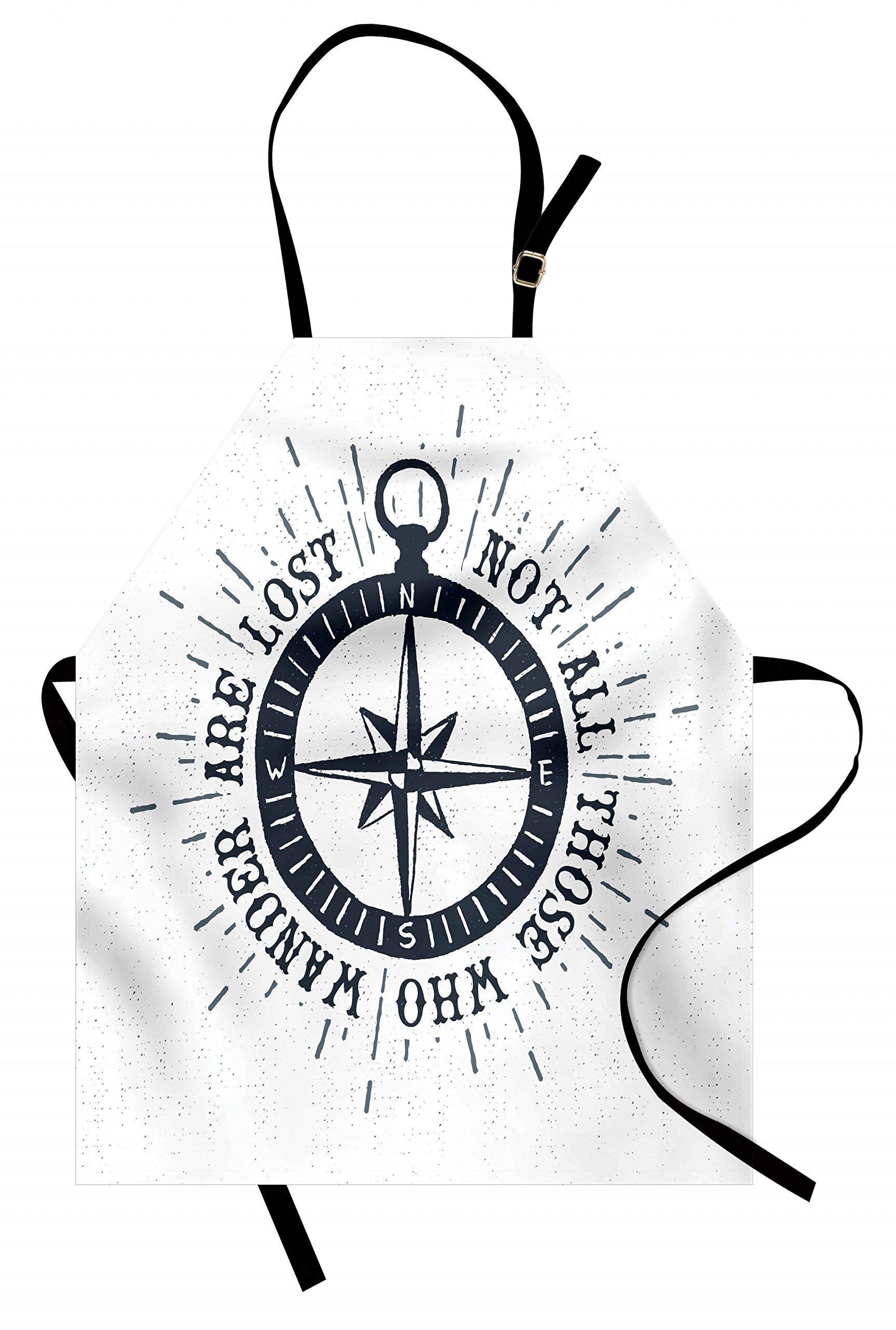 Lunarable Not All Who Wander Are Lost Apron, Compass and Wind Rose Nautical Theme Voyage Quote, Unisex Kitchen Bib Apron with Adjustable Neck for Cooking Baking Gardening, Slate Blue and White