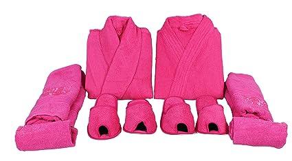 Buy Generic Koyoka Cotton Bathrobes set for Men and Women (Pink) -8 ... 338b92051