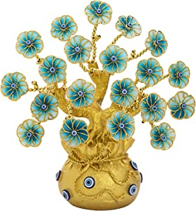 Turkish Blue Evil Eye Tree Decoration Fengshui Protection Ornament Flowers Money Fortune Tree with Golden Lucky Bag