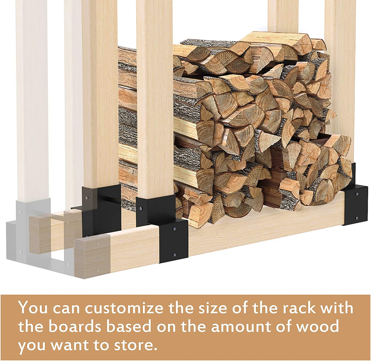Firewood Storage Rack Bracket Kit Adjustable to Any Length Heavy Duty Firewood Log Holder Outdoor//Indoor Fireplace Wood Stacker 2 Pack
