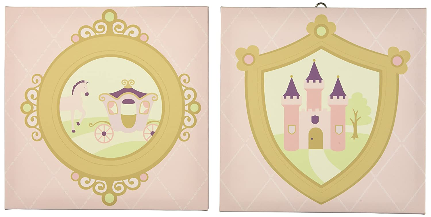 Amazon.com: Kids Line Rapunzel Canvas Wall Art, 2 Piece, Pink ...