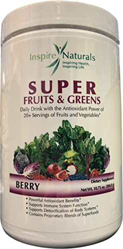 Inspire Naturals Super Fruits and Greens, Doctor Recommended Best Tasting All Natural Super Food w Acai, Gogi, Mangosteen, Noni Super Fruits, Super Vegetables,Chlorella, Kelp, Turmeric Kale Berry