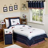 Sweet Jojo Designs 4-Piece Red, White and Blue Vintage Aviator Airplane Children's Bedding Boys Twin Set