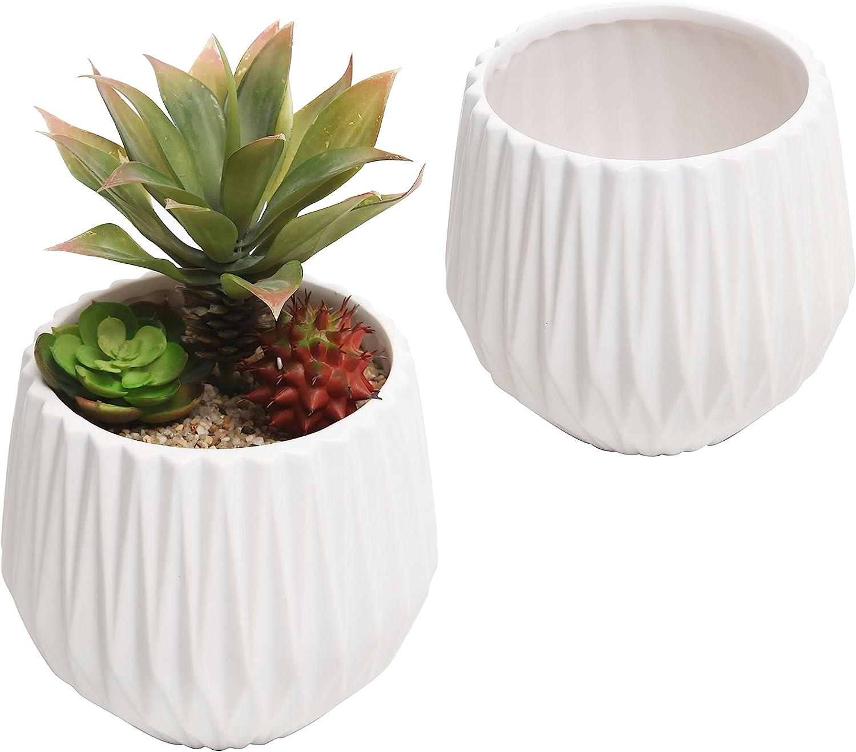 5 Inch Round Striped Textured White Ceramic Succulent Planter Container Pot, Set of 2