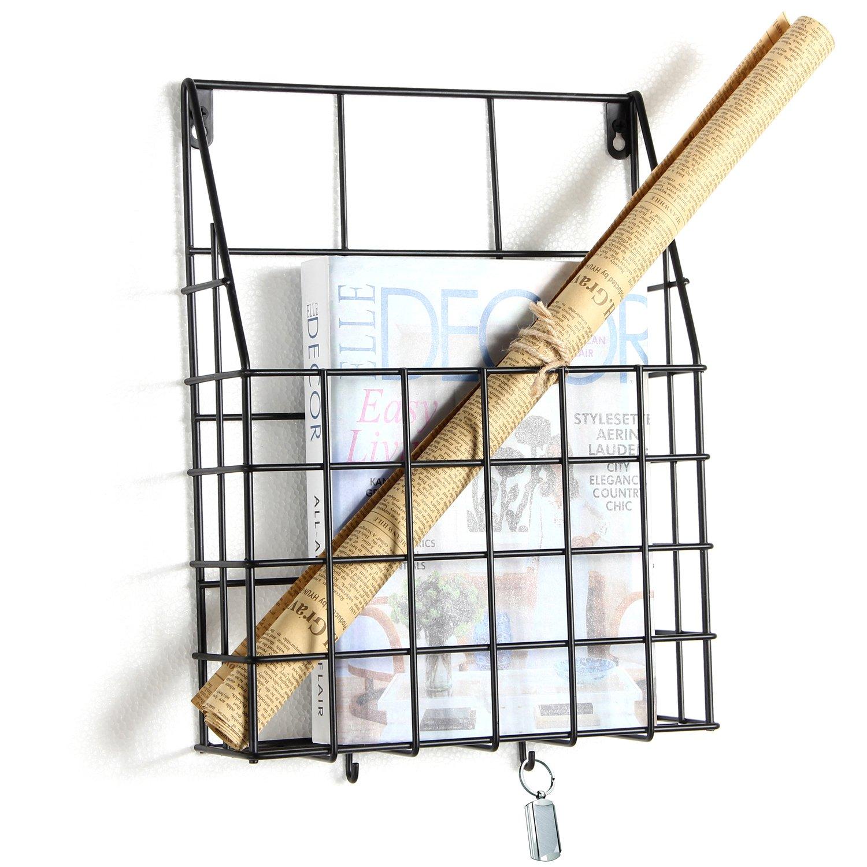 Woopoo Magazine Rack Newspaper Storage Basket Book Shelf Hanging Basket Metal Hanging Basket Wire Basket Wall Mount Baskets Wall Mount Storage Shelf Large Vintage Basket Office Storage