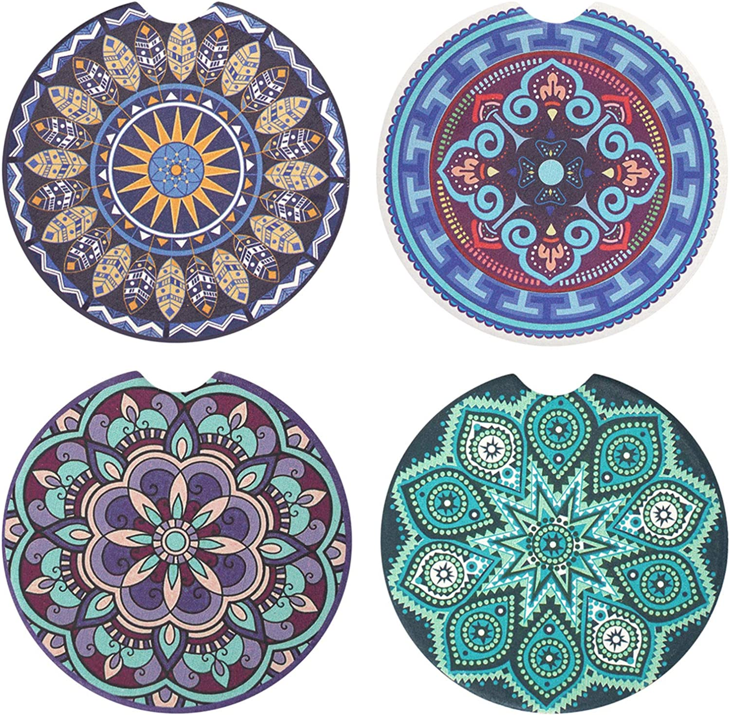 Vaincre 4 Pack 2.56 inch Car Coasters for Drinks Absorbent, Mandala Ceramic Car Cup Holder Coaster for Your Car with Fingertip Grip, Removable Cute Auto Accessories, Keep Car Clean for Women & Girls