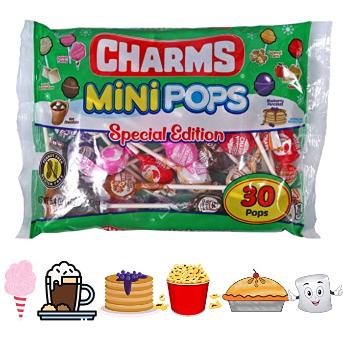 Mini Pops Special Edition Christmas Candy 30 Mini Pops | Seasonal Flavors- Cotton Candy -Toasted Marshmallow -Blueberry Pancakes- Caramel Corn-Hot Chocolate-Apple Pie
