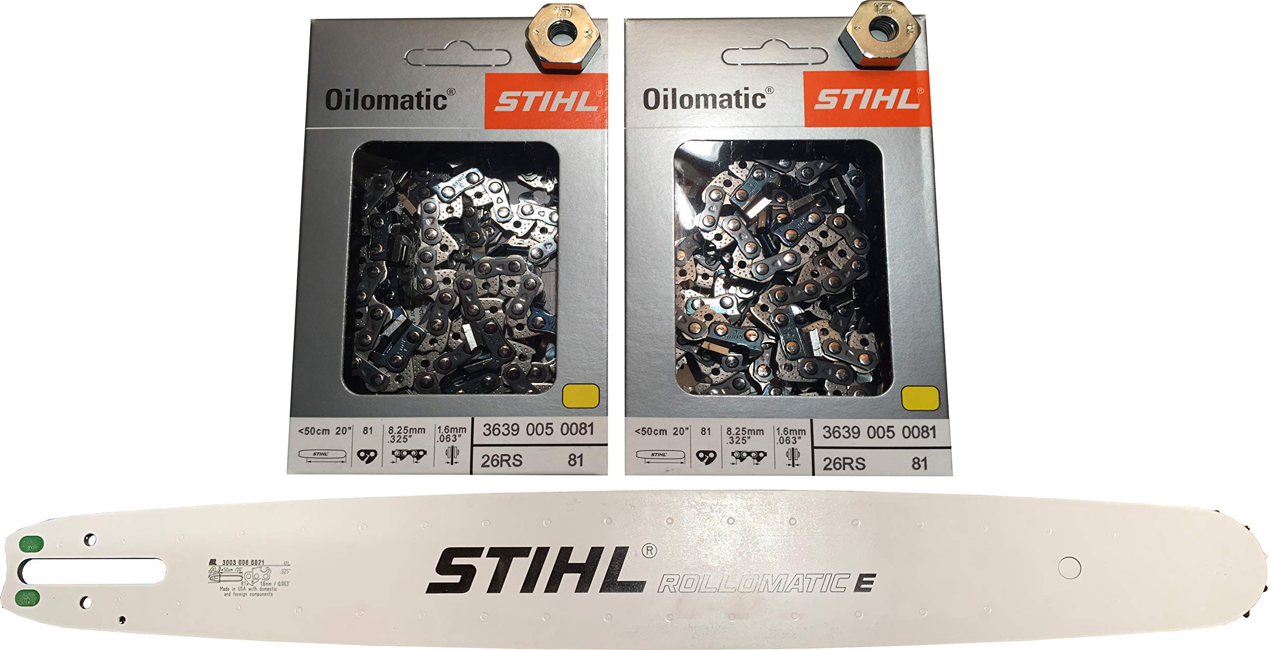Stihl Set, 2 Pack Chainsaw Chains 26RS 81 Drive Links.325 Pitch.063 Gauge, 20'' Guide Bar 3003 008 6821, 2 Bar Cover Nuts 0000 955 0801, Combination Set