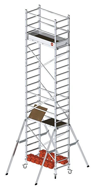 Hailo 9905-201 ProfiStep multi - Aluminium-Fahrgerüst, Set Inkl. 1 Und 2. Aufstockung