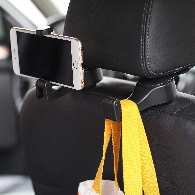 Universal Car Multi-function Rear Seat Back Bracket Storage Phone Holder Hook Seat Headrest Mobile Phone Holder Hanger for Bag Purse Cloth Grocery