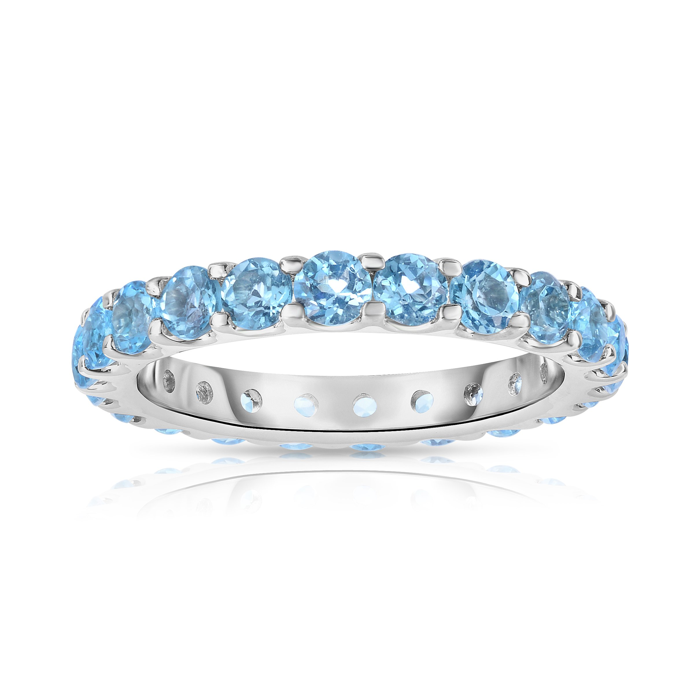 Noray Designs .925 Sterling Silver Round-Cut Blue Topaz Eternity Ring (2 cttw)