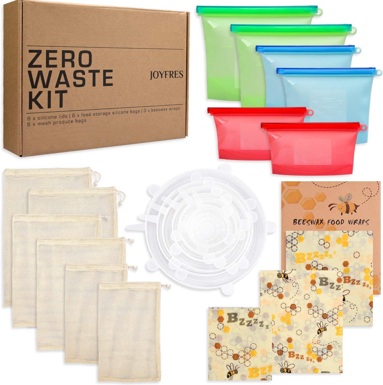Zero Waste Kit | 21 pcs Premium Set for an Eco-Friendly Lifestyle | 6 pcs Silicone Stretch Lids, 6 pcs Reusable Food Storage Bags, 6 pcs Mesh Grocery Bags, 3 pcs Beeswax Wraps in Various Sizes