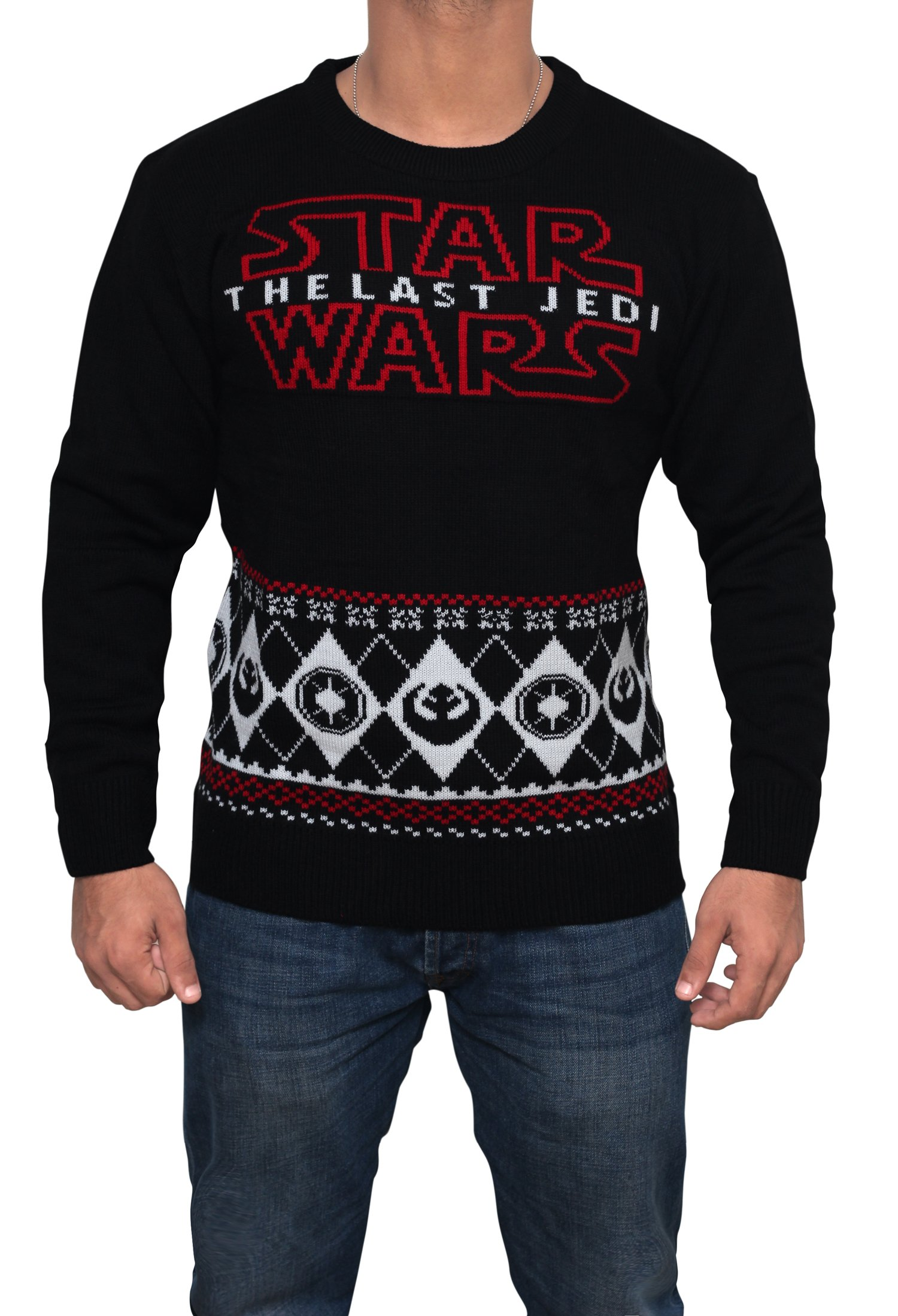 Star Wars Last Jedi Sweater - Star Wars Holiday Sweater by Miracle (Black, Large) by Miracle(Tm) (Image #3)