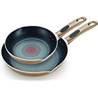 T-fal B036S264 B036S2 Excite ProGlide Nonstick Thermo-Spot Heat Indicator Dishwasher Oven Safe 8 Inch and 10.5 Inch Fry Pan Cookware Set, 2-Piece, Bronze