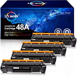 Uniwork Compatible Toner Cartridge Replacement for HP 48A CF248A use for Laserjet Pro M15w M29w M28w M16w M30w M31w M15a Printer, 4 Black