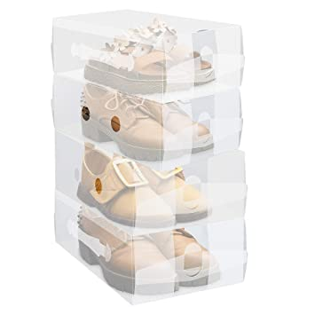 Clear Shoe Storage Boxes.Fixsmith Kids Women S Foldable Shoe Box 4 Pack Stackable Shoe Storage Boxes With Carry Handle Clear Plastic Shoe Container Heavy Duty Transparent