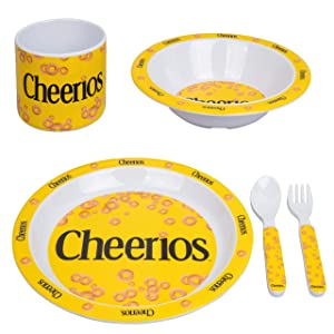 Cheerios 5pc Kids Plates Mealtime Feeding Set for Toddlers - Dinnerware Dish Set w Plate, Bowl, Cup, Utensils- BPA/PVC Free & Dishwasher Safe