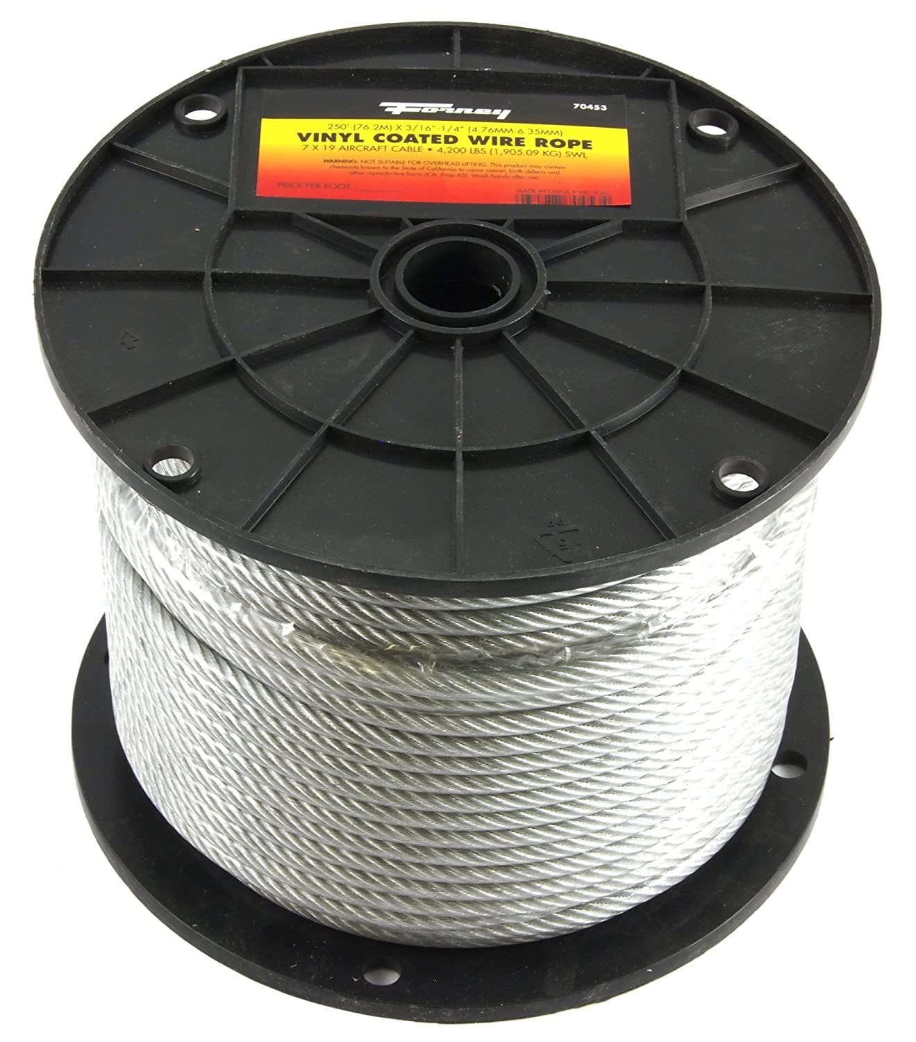 Amazon.com: Forney 70453 Wire Rope, Vinyl Coated Aircraft Cable, 250 ...