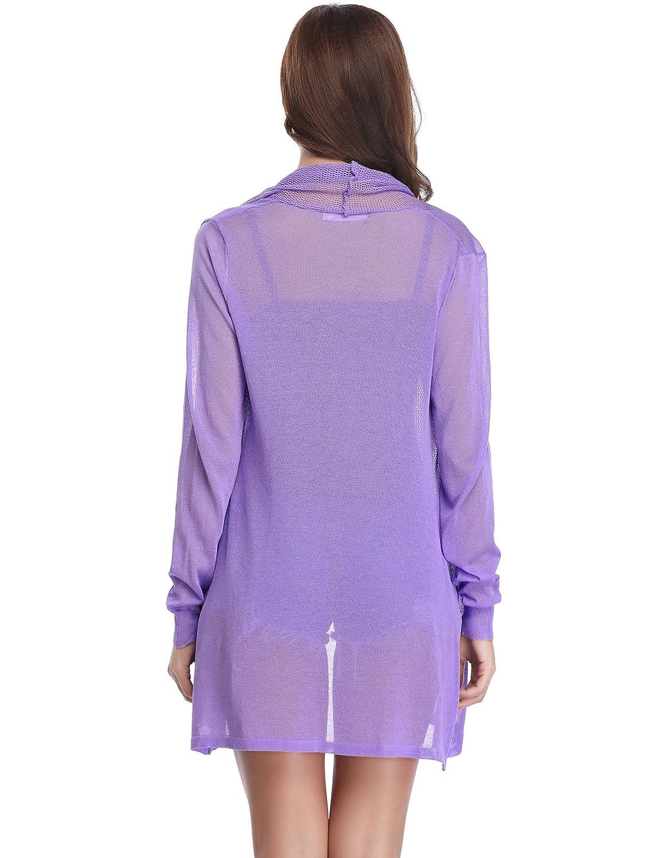 Abollria Veste Longue Femme Gilet Femme Leger Crochet Cardigan Long Femme  Lin Manches Longues été Outwear 535a5a689df8