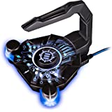 Mouse Bungee by ENHANCE - GX-B1 Mouse Cord Bungee Holder and Active 4-Port USB Hub with Blue LED Lighting – Boost Gaming Accuracy By Eliminating Cable Drag – for Dota 2 , League of Legends and More
