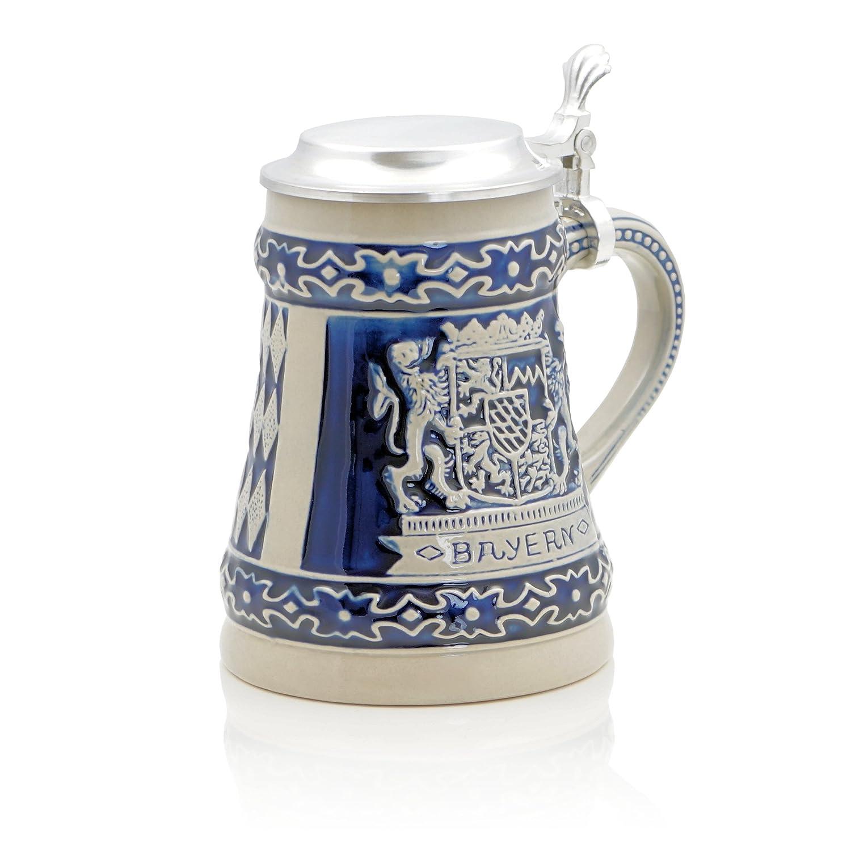 German Beer Stein Bayern | Traditional Bavarian Beer Mug with Metal Lid | 0.5 liter (1 pt.) | blue | Made in Germany