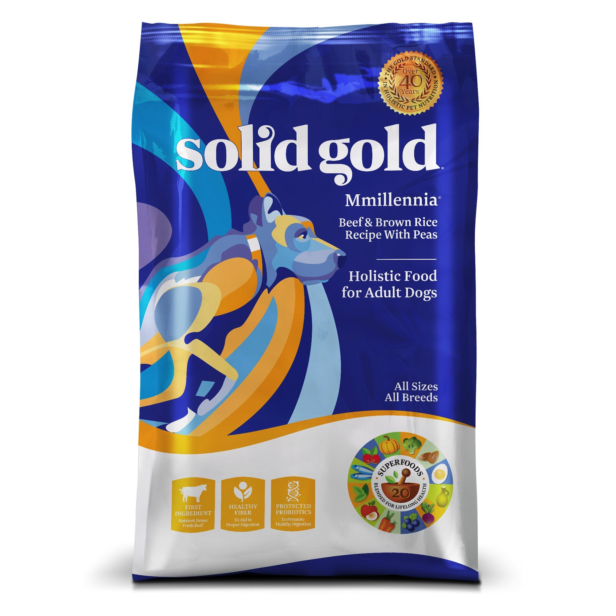 Solid Gold MMillennia Holistic Dry Dog Food, Beef & Brown Rice with Peas, Moderately Active Adult Dogs, All Sizes, 28lb Bag