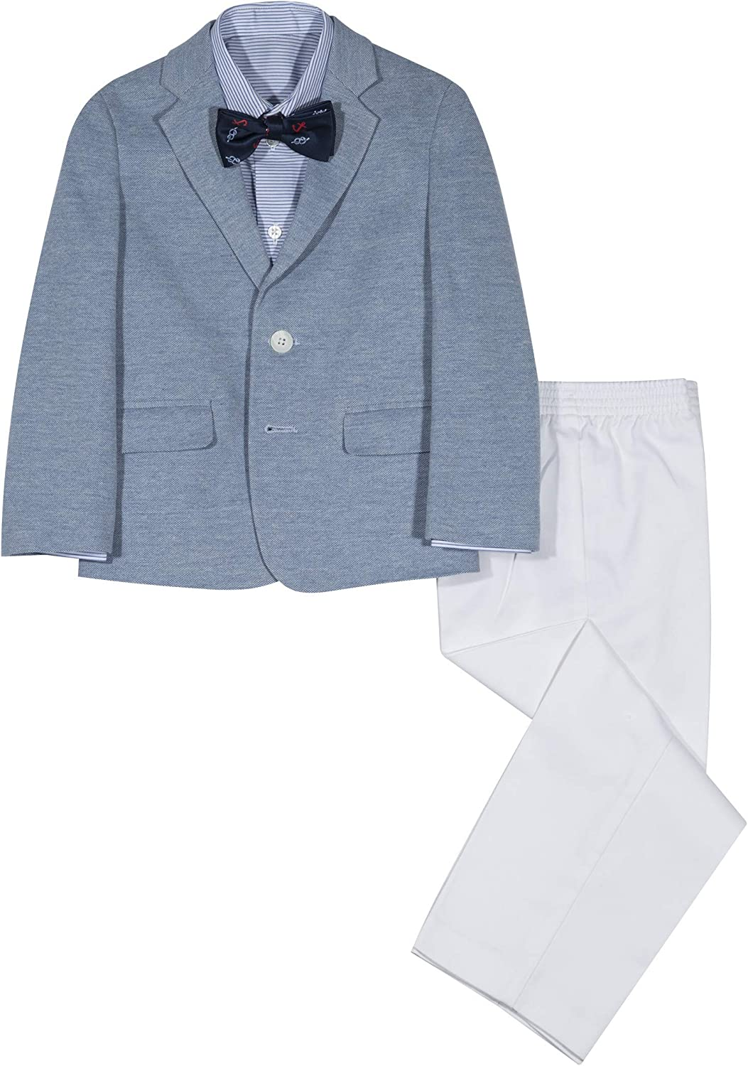 and Pants Nautica Boys 4-Piece Suit Set with Dress Shirt Jacket Bow Tie