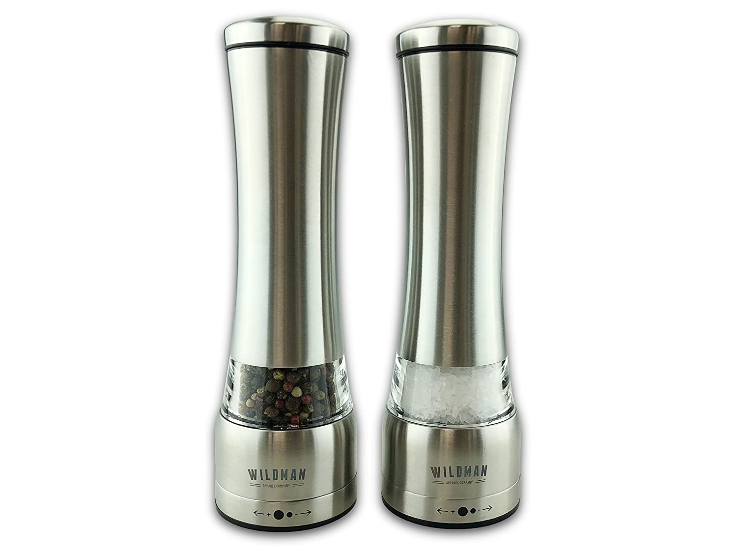 Large Size by Wildman/™ Large Steel Bodies Manual Grinder Brushed Stainless Steel Salt and Pepper Mill Set Adjustable Grinders via The top Easy Fill 2 pcs