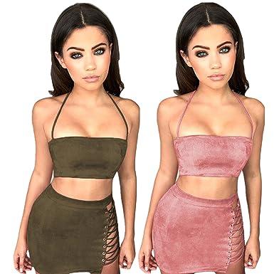 La mujer 2 piezas set de dos piezas falda Bodycon crop top encaje ...