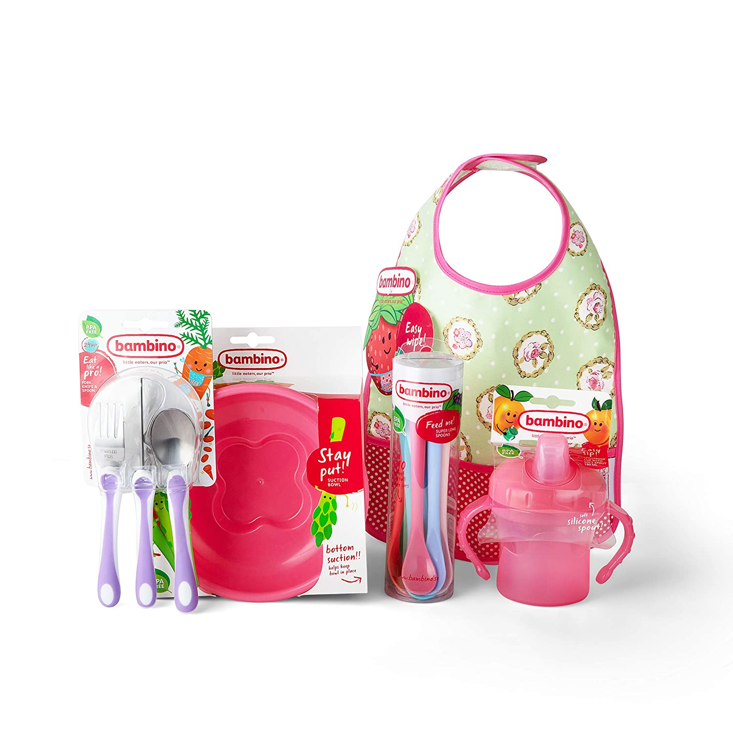 Bambino Set of 5 Feeding Accessories, Pack of Baby Eating Utensils and Bib,  Toddler Meal Set Made from Safe Materials, Contains Baby Spoons and More
