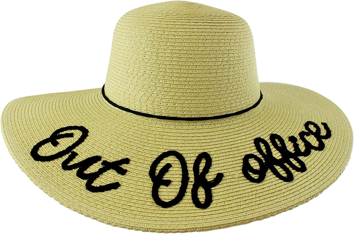 Out of Office Embroidered Beach Floppy Sun Hat Beige