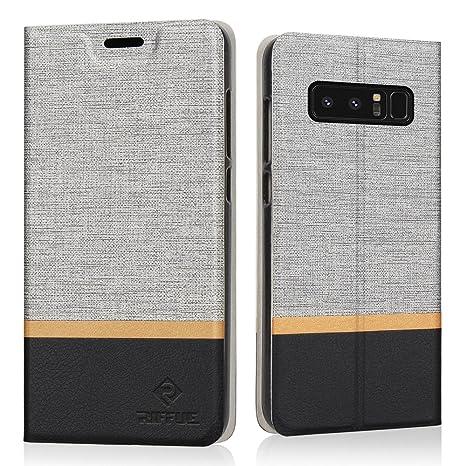 RIFFUE Coque Galaxy Note 8, Housse Etui Portefeuille Flip à Rabat PU Cuir  Premium Classique e4f424cc871