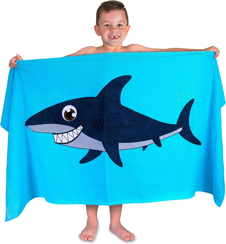 Hudz Kidz Beach Towel for Kids & Toddlers, Perfect for Beach, Pool, Bath (Blue)