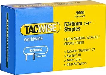 Caja de 2000 grapas galvanizadas 53//6mm Tacwise Grapas