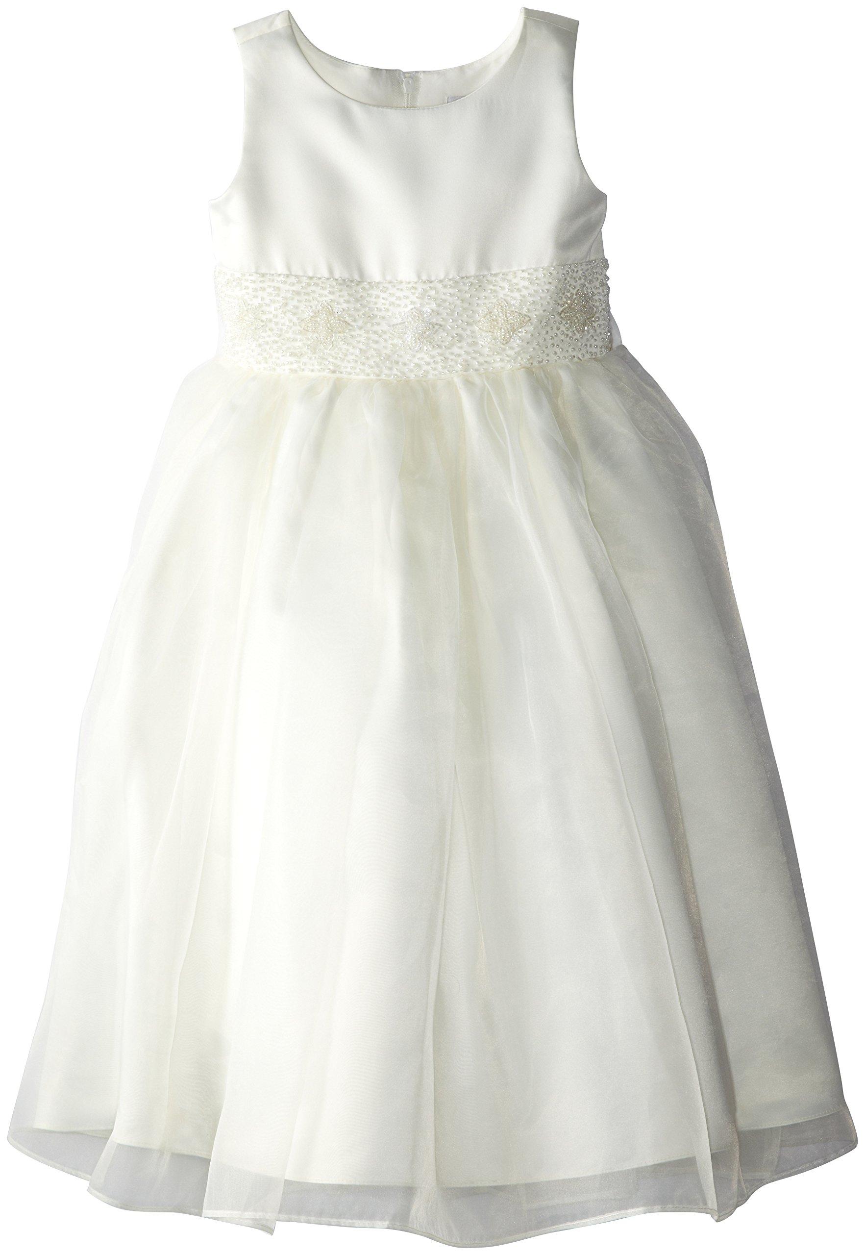 Us Angels Little Girls' Dress With Handbeaded Cummerbund, Ivory, 6