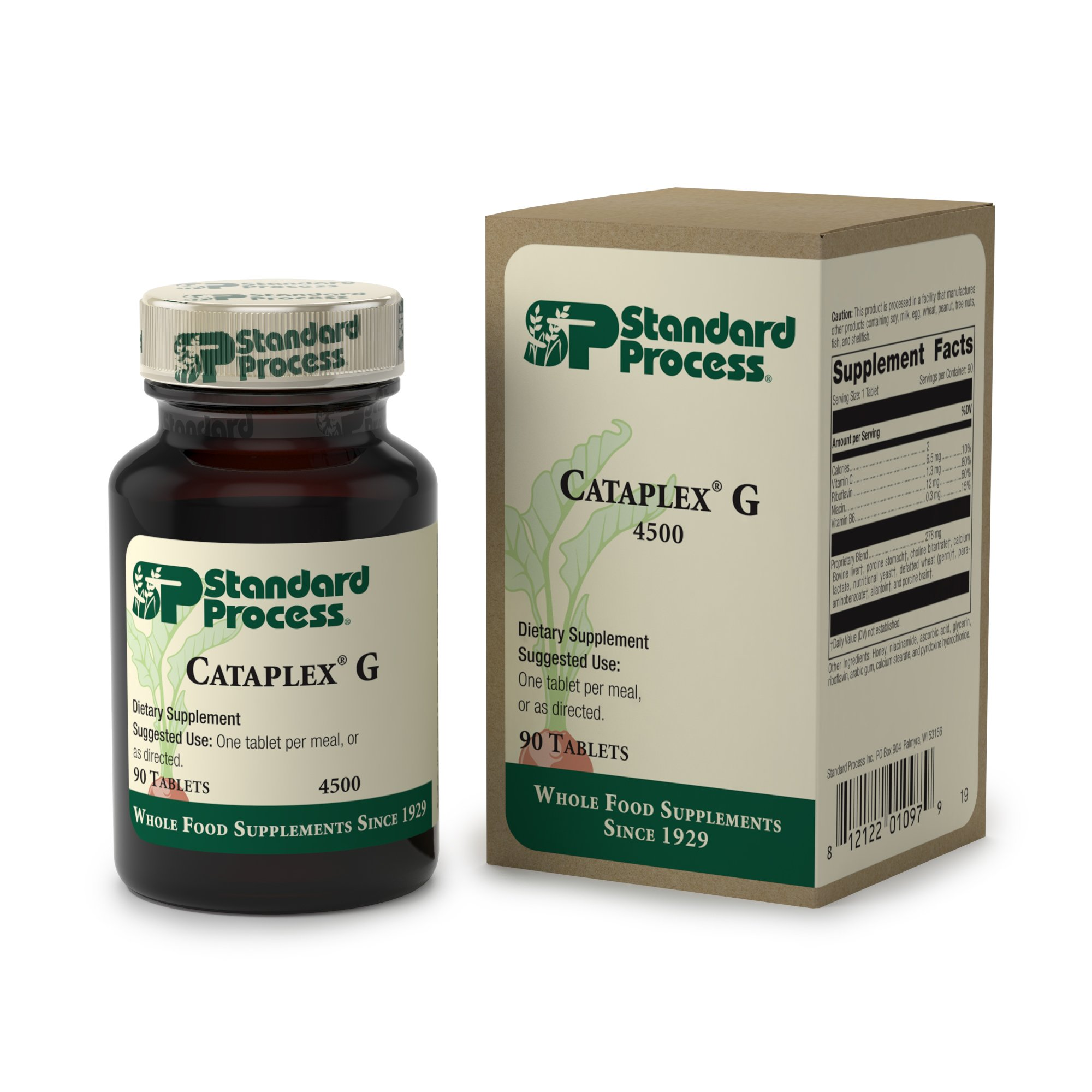 Standard Process - Cataplex G - Supports Brain and Nervous System Function, Liver and Metabolism, Provides Antioxidant Vitamin C, Riboflavin, Niacin, Vitamin B6-90 Tablets