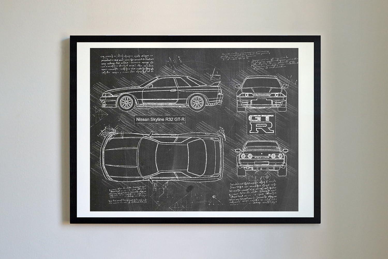 Dolanpaperco 279 Nissan Skyline R32 Gt R 1989 Art Print Gtr R35 Sketch Da Vinci Unframed Multiple Size Color Options 16x20 Blueprint Posters