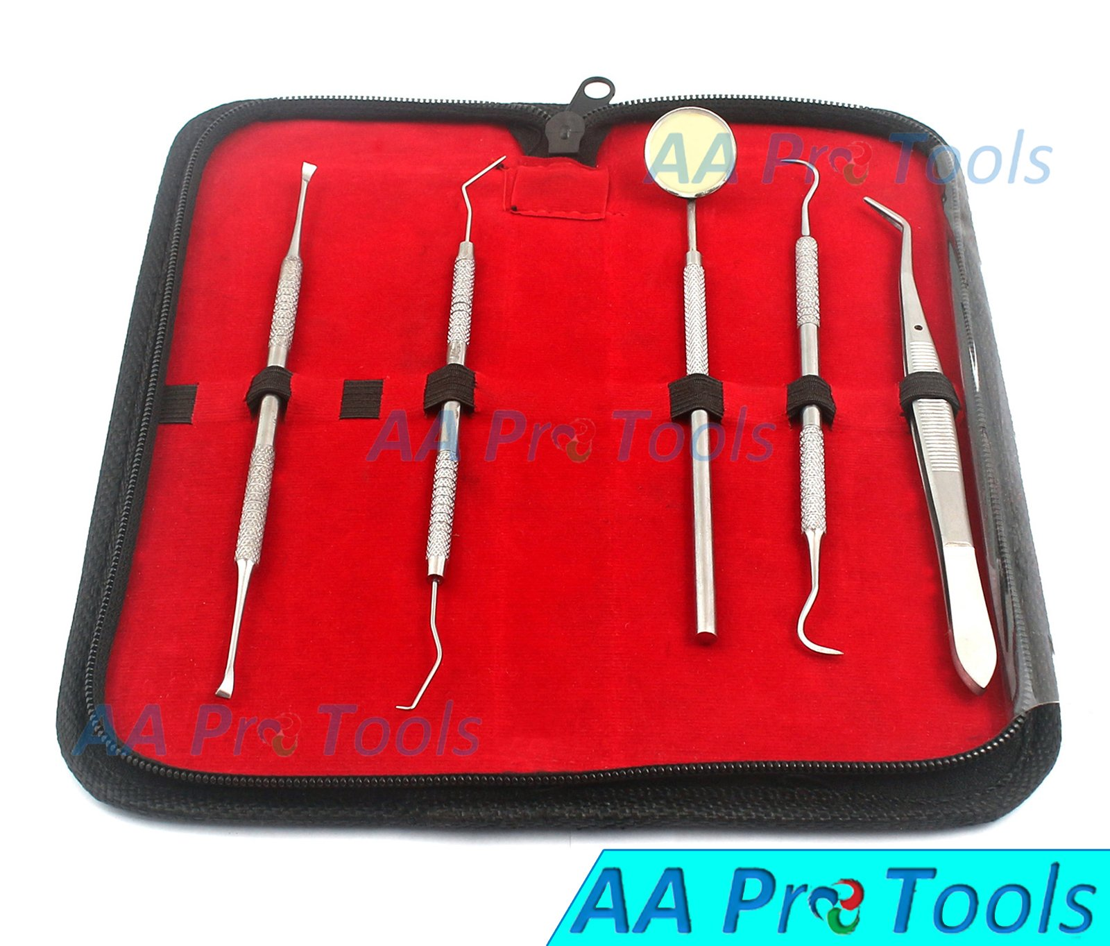 DENTAL TOOL KIT BY AA PRO - DENTAL HYGIENE KIT | INCLUDES DENTAL PICK, TARTER SCRAPER/SCALING INSTRUMENT, TWEEZERS, MOUTH MIRROR - PROFESSIONAL GRADE DENTIST APPROVED TOOLS A+ QUALITY